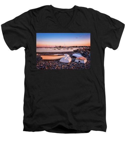 Rowboats At Rye Harbor, Sunset Men's V-Neck T-Shirt