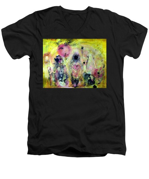Men's V-Neck T-Shirt featuring the painting Sanguine by 'REA' Gallery