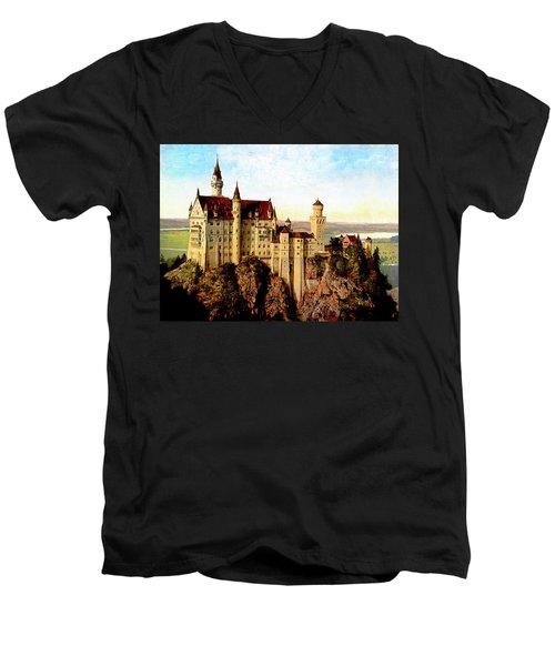 Schloss Neuschwanstein Remastered Men's V-Neck T-Shirt