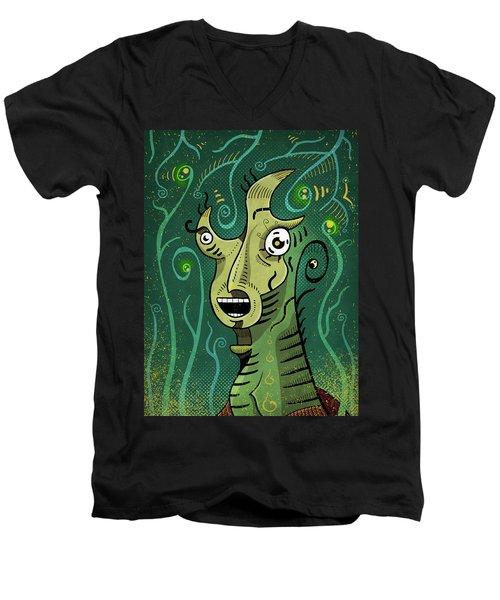 Men's V-Neck T-Shirt featuring the digital art Scream by Sotuland Art