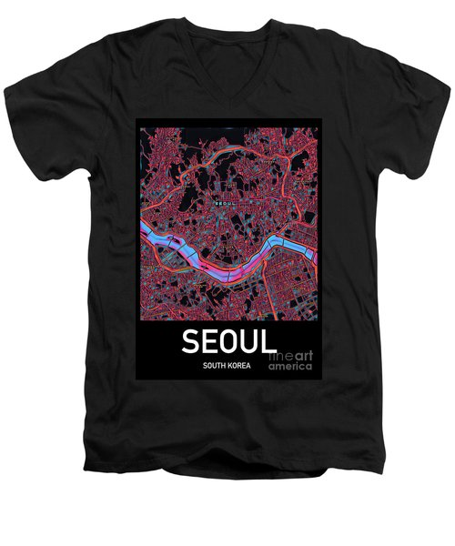 Seoul City Map Men's V-Neck T-Shirt