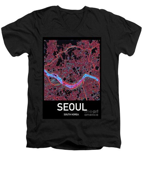 Seoul City Map Men's V-Neck T-Shirt