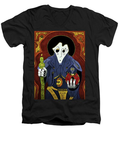 Men's V-Neck T-Shirt featuring the painting Shadow Priest by Sotuland Art
