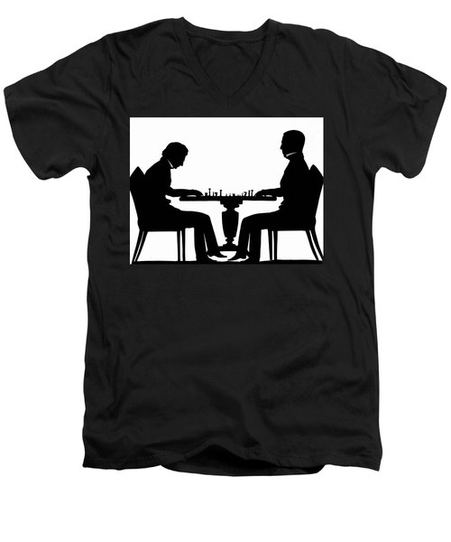 Silhouette Of Chess Players, Around 1845 Men's V-Neck T-Shirt