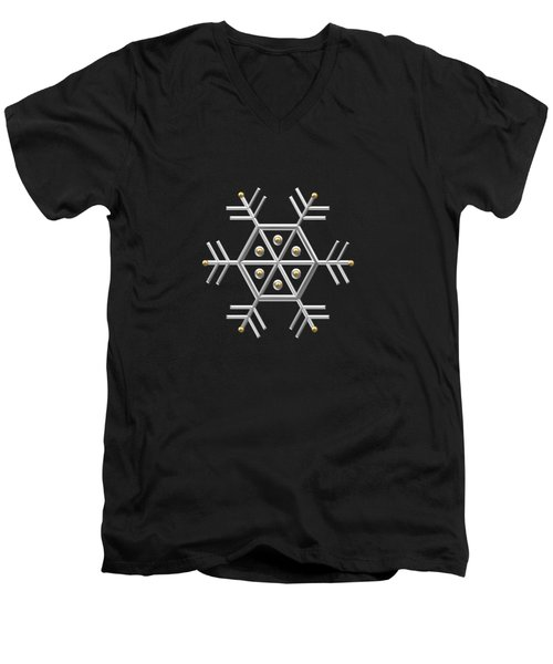Men's V-Neck T-Shirt featuring the digital art Silver And Gold Snowflake 2 At Midnight by Rose Santuci-Sofranko