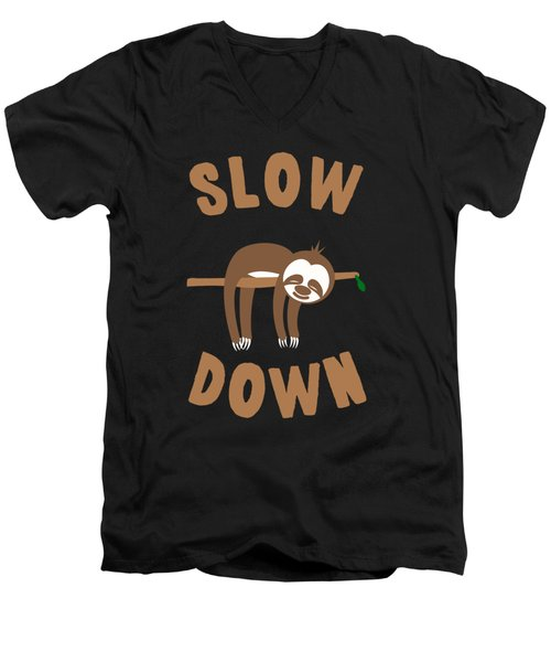 Slow Down Sloth Men's V-Neck T-Shirt