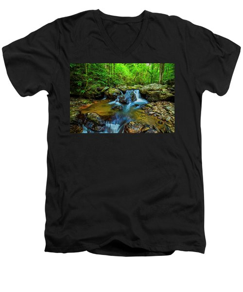 Men's V-Neck T-Shirt featuring the photograph Smith Creek Cascade by Andy Crawford