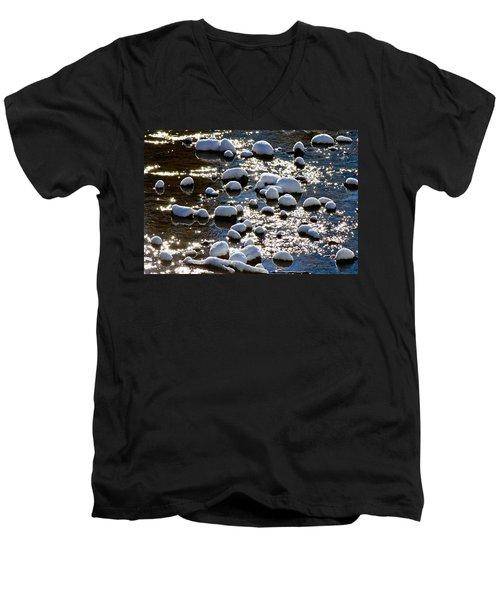 Snow Covered Rocks Men's V-Neck T-Shirt