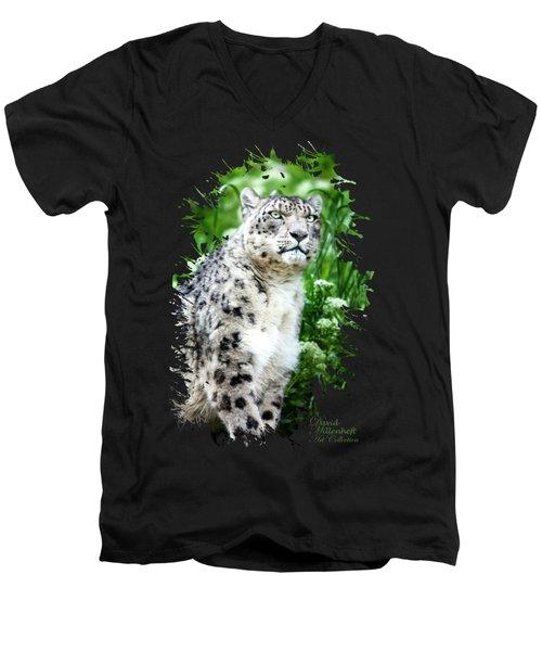 Snow Leopard, Leopard Art, Animal Decor, Nursery Decor, Game Room Decor,  Men's V-Neck T-Shirt