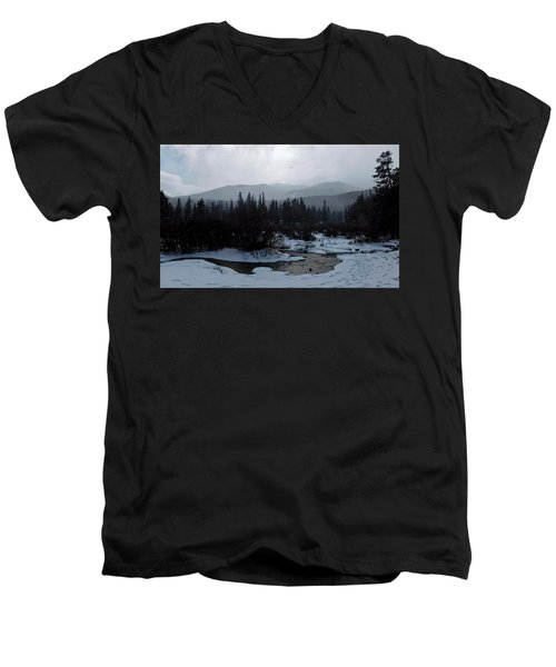 Men's V-Neck T-Shirt featuring the photograph Snow Squall by Dan Miller