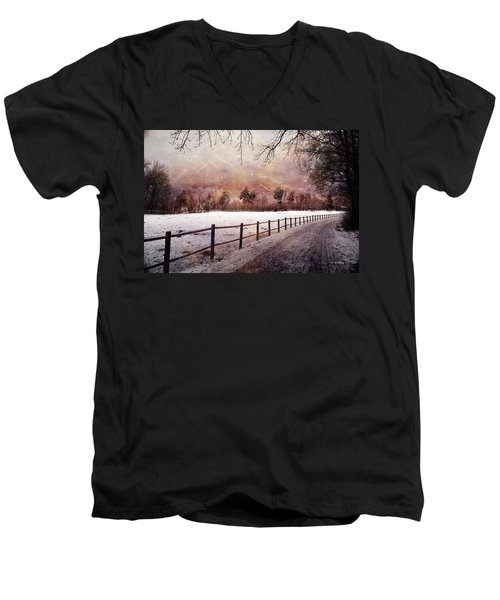 Men's V-Neck T-Shirt featuring the photograph Sounds In The Paddock by Randi Grace Nilsberg