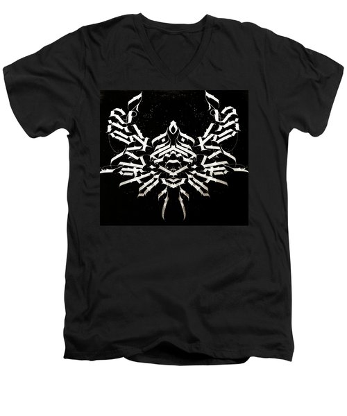 Space Crab. Calligraphic Abstract Men's V-Neck T-Shirt