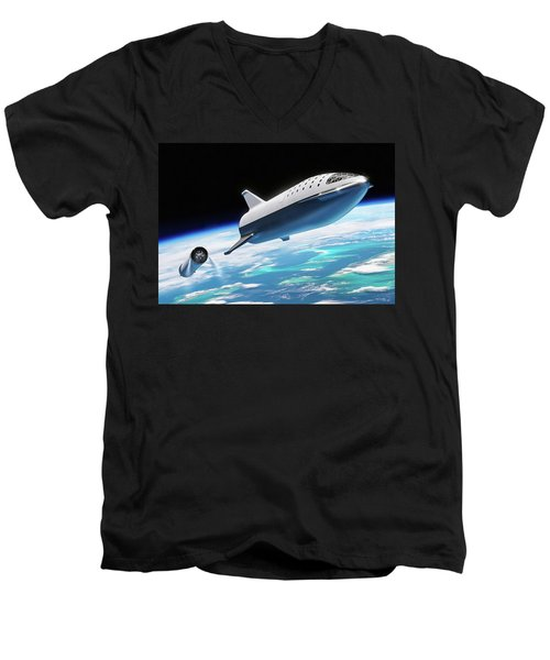 Spacex Bfr Big Falcon Rocket With Earth Men's V-Neck T-Shirt
