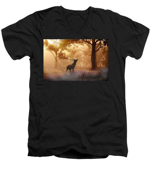 Stag In The Forest Men's V-Neck T-Shirt