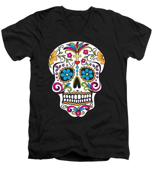 Sugar Skull Day Of The Dead Men's V-Neck T-Shirt