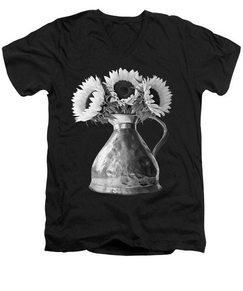 Sunflowers In Copper Pitcher In Mono Men's V-Neck T-Shirt