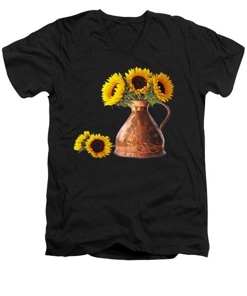 Sunflowers In Copper Pitcher On Black Square Men's V-Neck T-Shirt