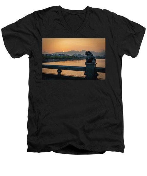 Sunrise In Longquan Seen From Gargoyle Bridge Men's V-Neck T-Shirt