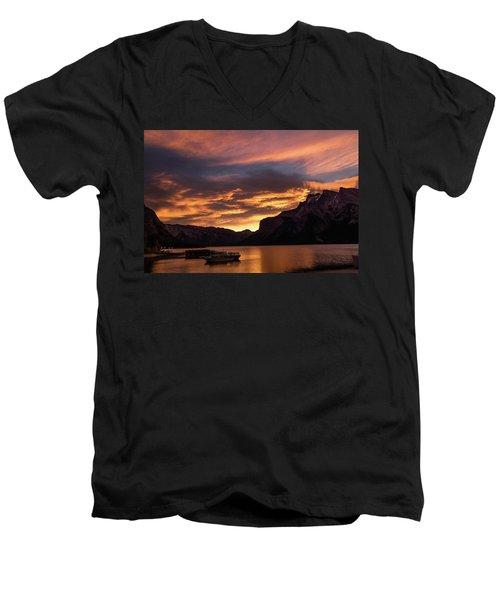 Sunrise Over Lake Minnewanka, Banff National Park, Alberta, Cana Men's V-Neck T-Shirt