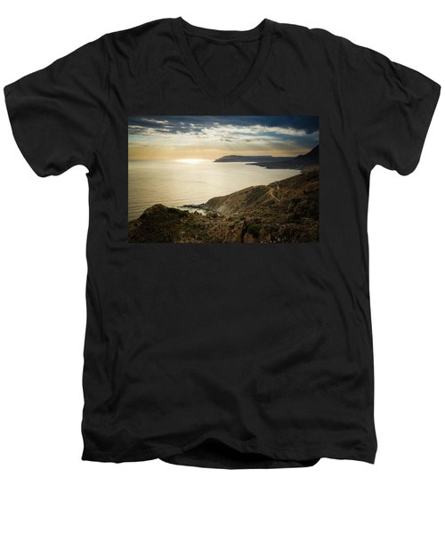 Sunset Near Tainaron Cape Men's V-Neck T-Shirt