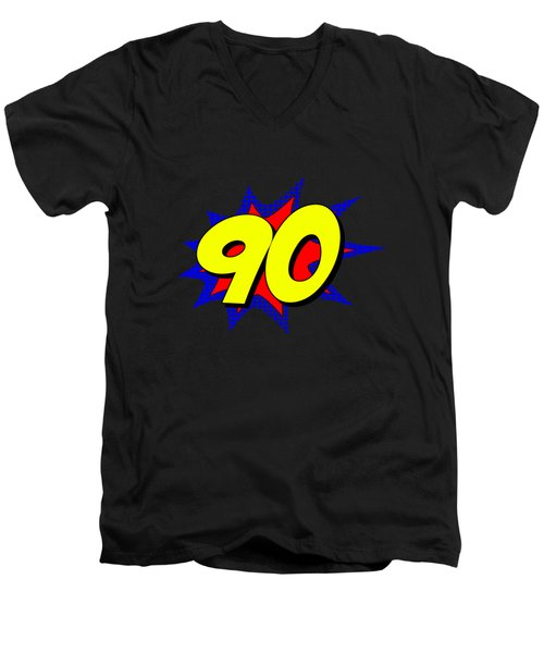 Superhero 90 Years Old Birthday Men's V-Neck T-Shirt