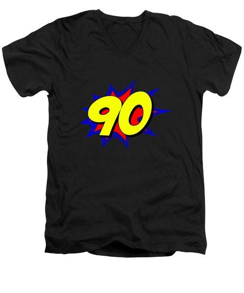 Superhero 90 Years Old Birthday Men's V-Neck T-Shirt