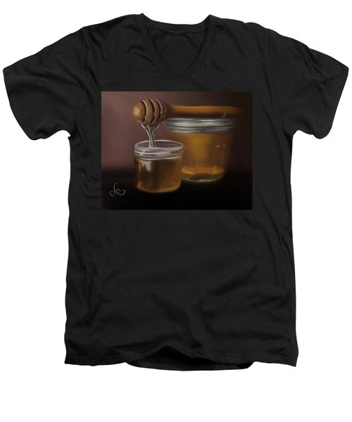 Men's V-Neck T-Shirt featuring the painting Sweet Honey by Fe Jones