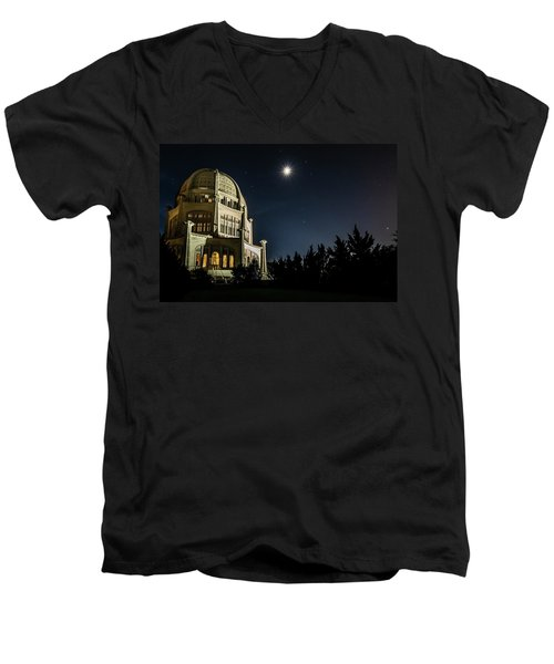 The Bahais Temple On A Starry Night Men's V-Neck T-Shirt