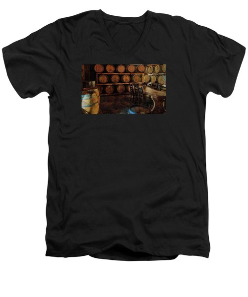Men's V-Neck T-Shirt featuring the photograph The Barrel Room by Thom Zehrfeld