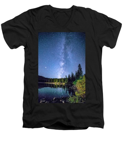 The Milky Way Over Echo Lake Men's V-Neck T-Shirt