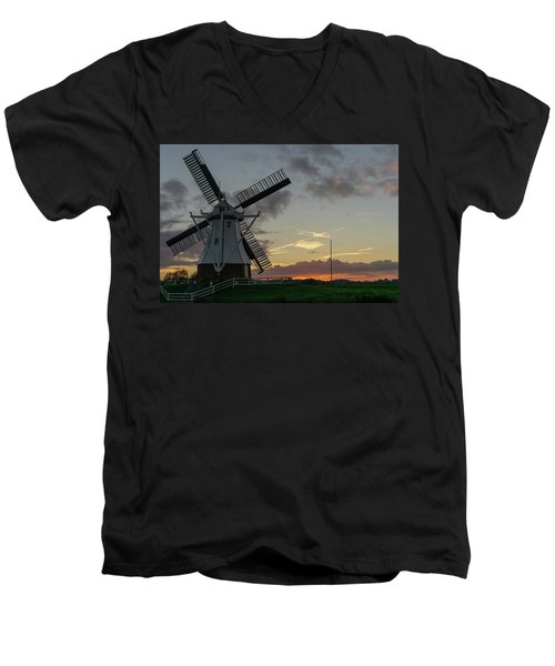 Men's V-Neck T-Shirt featuring the photograph The White Mill by Anjo Ten Kate