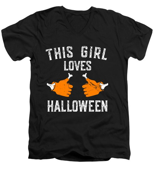 This Girl Loves Halloween Men's V-Neck T-Shirt