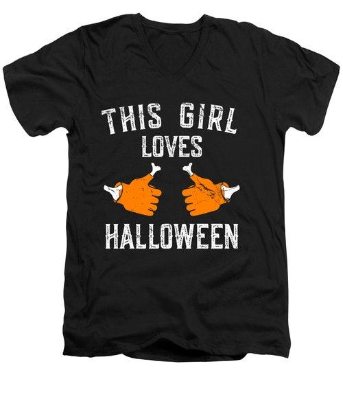 This Girl Loves Halloween Men's V-Neck T-Shirt