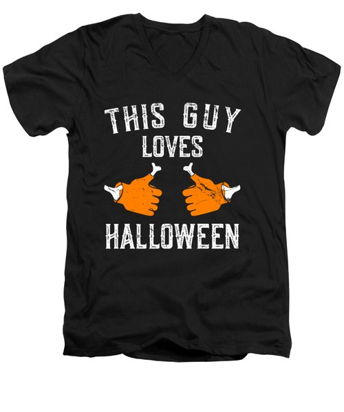 This Guy Loves Halloween Men's V-Neck T-Shirt