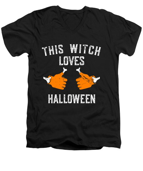 This Witch Loves Halloween Men's V-Neck T-Shirt
