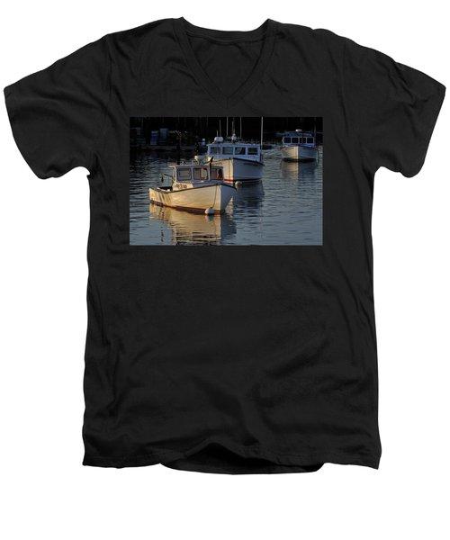 Three Boats In Maine Men's V-Neck T-Shirt