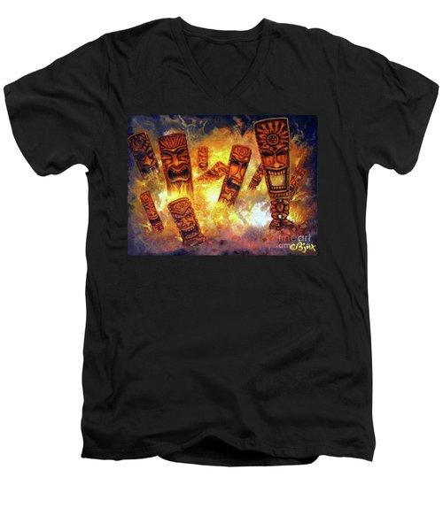 Tiki Hot Spot Men's V-Neck T-Shirt