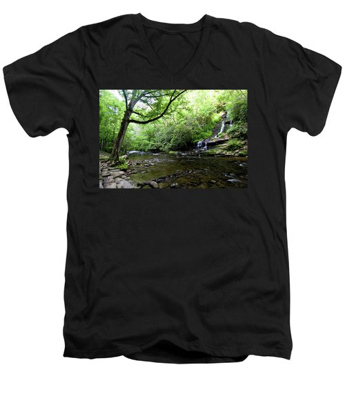 Tom Branch Falls On Deep Creek Men's V-Neck T-Shirt
