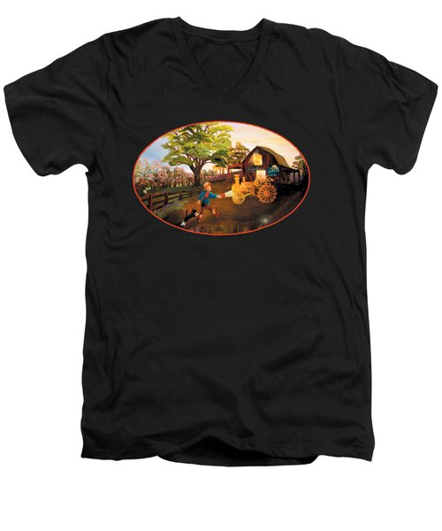 Tractor And Barn Men's V-Neck T-Shirt