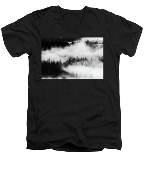 Men's V-Neck T-Shirt featuring the photograph Trees In The Mist 1 by Stephen Holst