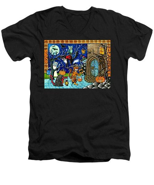 Trick Or Treat Halloween Cats Men's V-Neck T-Shirt