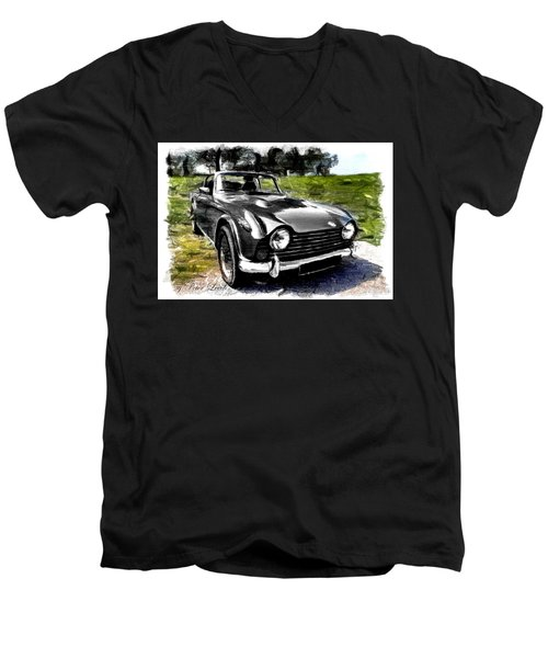 Triumph Tr5 Monochrome With Brushstrokes Men's V-Neck T-Shirt
