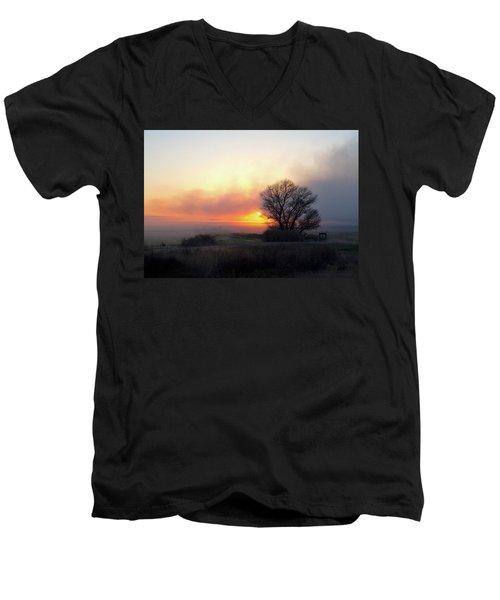 Tule Fog Sunrise  Men's V-Neck T-Shirt