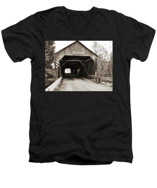Union Village Covered Bridge Men's V-Neck T-Shirt