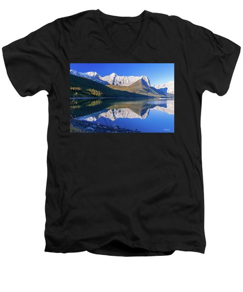 Men's V-Neck T-Shirt featuring the photograph Upper Kananaskis Lake by Tim Kathka