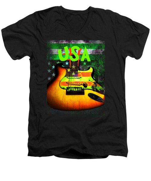 Usa Strat Guitar Music Green Theme Men's V-Neck T-Shirt