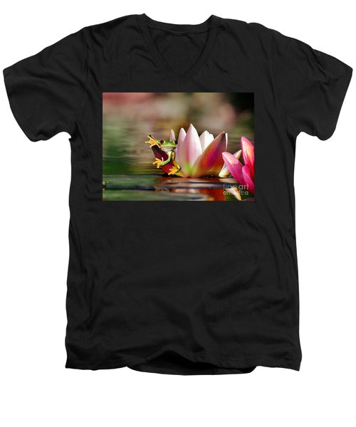 Water Lily And Frog Men's V-Neck T-Shirt