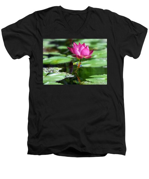 Water Lily And Little Frog Men's V-Neck T-Shirt