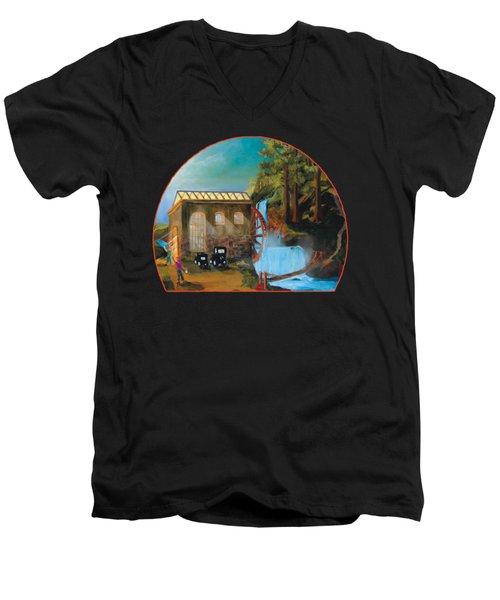 Water Wheel Overlay Men's V-Neck T-Shirt