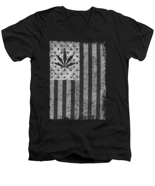 Weed Leaf American Flag Us Men's V-Neck T-Shirt